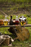 Composition of bottles of tinctures and ceramic bowls Stock Photography