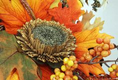 Composition, bouquet of dried flowers, berries, and leaves. Autumn, fall decor royalty free stock photos