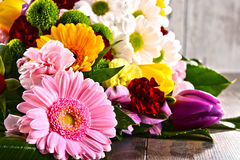Composition with bouquet of flowers Royalty Free Stock Photography