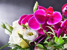 Composition with bouquet of freshly cut flowers Stock Image