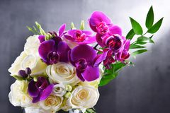 Composition with bouquet of freshly cut flowers Royalty Free Stock Photography