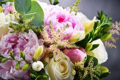 Composition with bouquet of freshly cut flowers Stock Photo