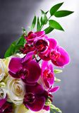 Composition with bouquet of freshly cut flowers Stock Images