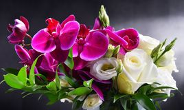 Composition with bouquet of freshly cut flowers Royalty Free Stock Photo