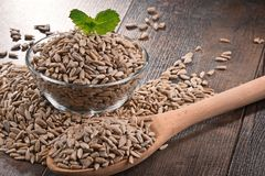 Composition with bowl of shelled sunflower seeds on wooden table Royalty Free Stock Image