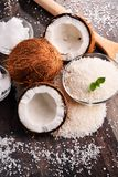 Composition with bowl of shredded coconut and shells Stock Photography