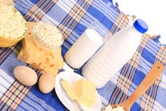 Composition with bread milk and cheese Royalty Free Stock Photos
