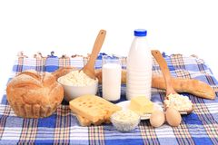 Composition with bread ,milk and cheese Stock Photos
