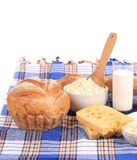 Composition with bread,milk and cheese Royalty Free Stock Photo