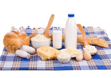 Composition with bread milk and cheese Stock Images
