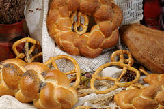 Composition with bread and pretzel Stock Photos