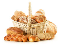 Composition with bread and rolls  on white Stock Photography