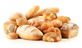 Composition with bread and rolls on white Royalty Free Stock Images
