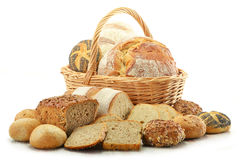 Composition with bread and rolls in wicker basket Stock Image