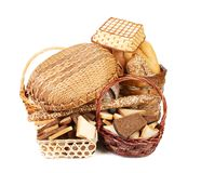 Composition with bread and rolls in wicker basket Royalty Free Stock Photo