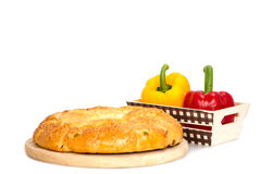 Composition with bread and rolls in wicker basket isolated Royalty Free Stock Photography