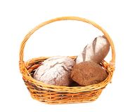 Composition with bread and rolls in wicker basket Stock Photography