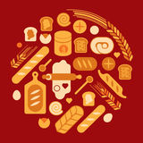 Composition with bread silhouettes. Stock Photo