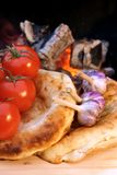Composition with Bread, tomatoes and garlic Stock Image