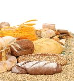 Composition of bread and wheat. Stock Photo