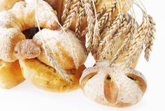 Composition with bread on white background Royalty Free Stock Images