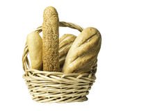 Composition with bread in wicker basket isolated on white stock photo