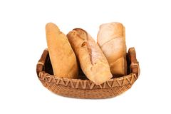 Composition of breads in basket Royalty Free Stock Photography
