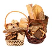 Composition of breads and baskets. Stock Photography