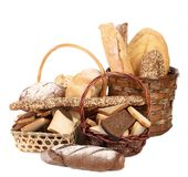 Composition of breads and baskets Royalty Free Stock Photography