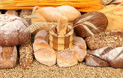 Composition of breads. Close up. Royalty Free Stock Photos