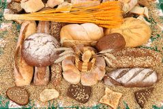 Composition of breads. Close up. Royalty Free Stock Images