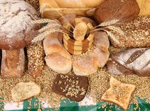 Composition of breads and wheat Stock Photo