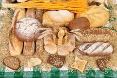 Composition of breads and wheat. Close up. Stock Photography