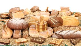 Composition of breads and wheat Royalty Free Stock Photo