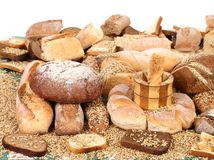 Composition of breads and wheat Royalty Free Stock Photos