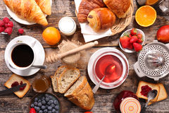 Composition, breakfast. With coffee and tea stock image