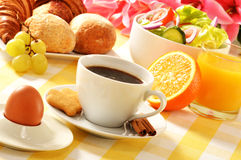 Composition with breakfast on the table Stock Photo