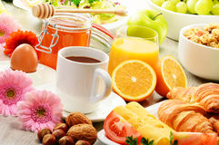 Composition with breakfast on the table. Balnced diet. Royalty Free Stock Photos