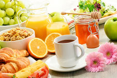 Composition with breakfast on the table. Balnced diet. Stock Image