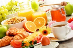 Composition with breakfast on the table. Balnced diet. Stock Images