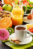 Composition with breakfast on the table. Balnced diet. Stock Photography