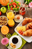Composition with breakfast on the table. Balnced diet. Royalty Free Stock Photography