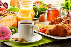 Composition with breakfast on the table. Balnced diet. Royalty Free Stock Photo