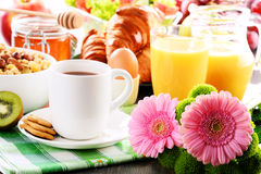 Composition with breakfast on the table. Balnced diet Stock Photos