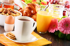 Composition with breakfast on the table. Balnced diet Royalty Free Stock Photo