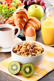 Composition with breakfast on the table. Balnced diet Stock Image