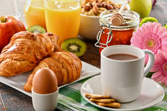 Composition with breakfast on the table. Balnced diet. Stock Photos