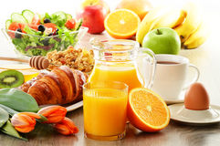 Composition with breakfast on the table Stock Photos