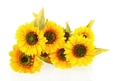 Composition of bright artificial sunflowers on white background. Royalty Free Stock Image