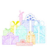 Composition of bright gift boxes Royalty Free Stock Image